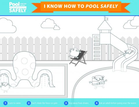 black and white pool graphic for kids to color in.