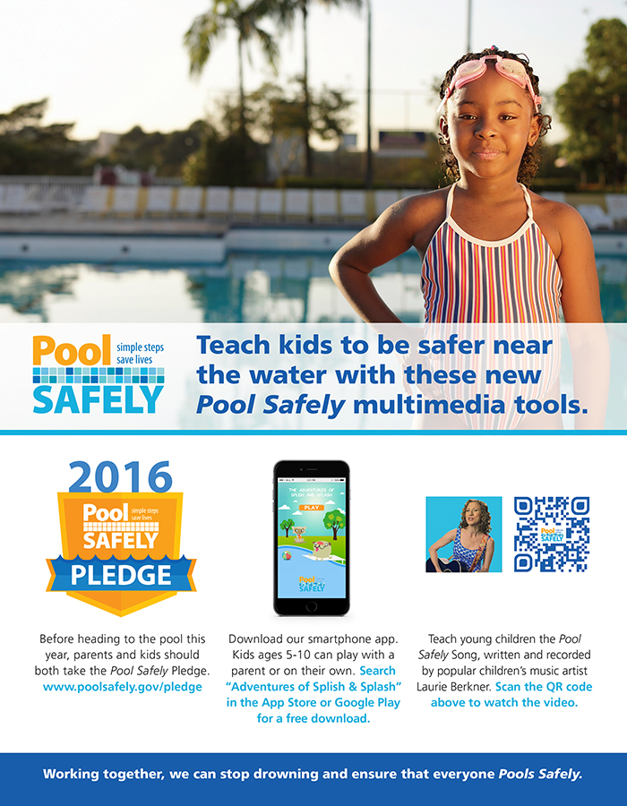 Flyer with a kid in front of pool
