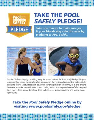 flier with 2 kids and a parent in the pool