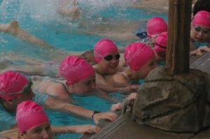Children in the Minneapolis-St. Paul community participate in the Abbey's Hope World's Largest Swimming Lesson in 2015.