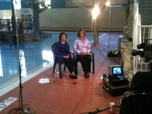 Co-founder of Abbey's Hope and Abbey's mother, Katey Taylor, discusses water safety with former CPSC Chairman Inez Tenenbaum during a TV interview in September 2010.