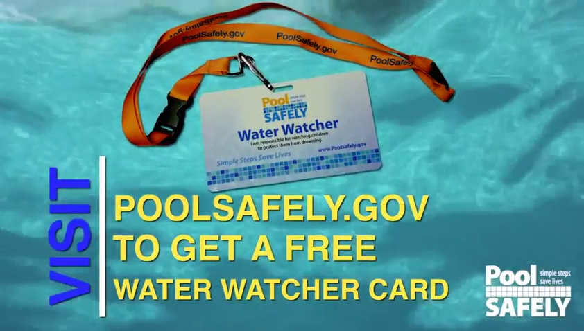 pool safely water watcher card and lanyard over a pool background.