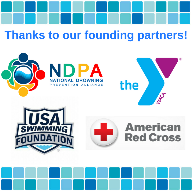 y.m.c.a. red cross u.s.a. swimming foundation and n.d.p.a. logos.