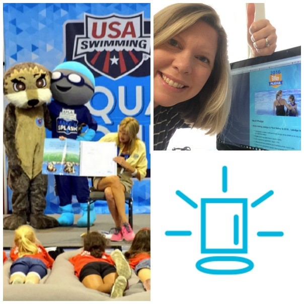 a women taking a selfie with the pool safely pledge and an image showing a women reading the pool safely book to kids