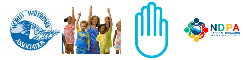 the NDPA logo, world waterpark association logo, a graphic of a hand and a woman dancing with a group of kids.