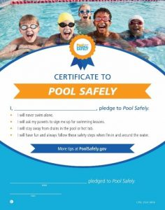graphic that kids sign agreeing to be safer around the pool.