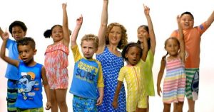 group of kids and laurie berkner in the pool safely song music video.