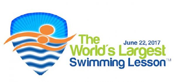worlds largest swimming lesson logo.
