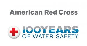 American Red Cross 100 years of water safety logo.