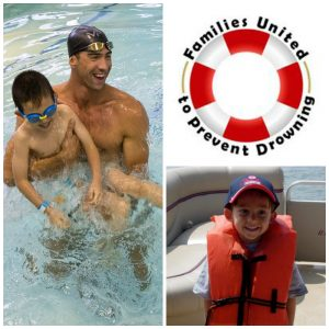 Michael Phelps with a child in the water, a child with a life vest on, and the families united to prevent drowning logo.