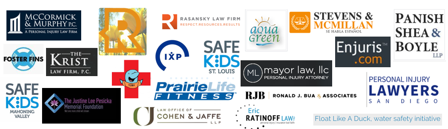 collage of logos from pool safely partners that came on in June.