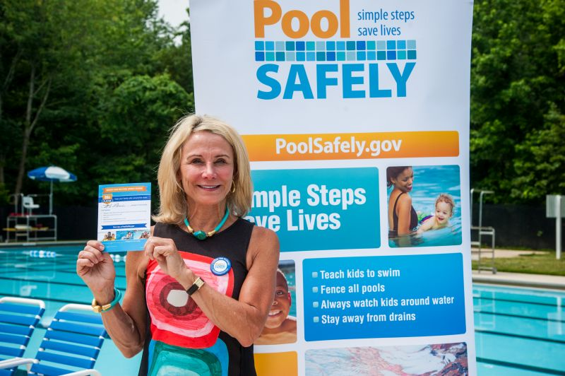 Commissioner Robinson with her Pool Safely Pledge