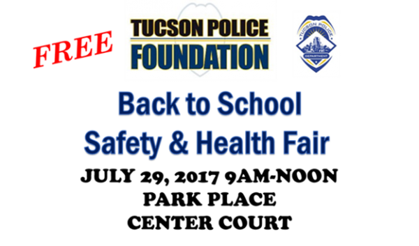 A sign stating Back to School Safety and Health Fair