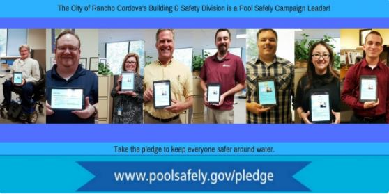 several photos of people holding ipads with signed pledges.