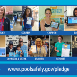 13 Olympians in front of there pool safely pledges