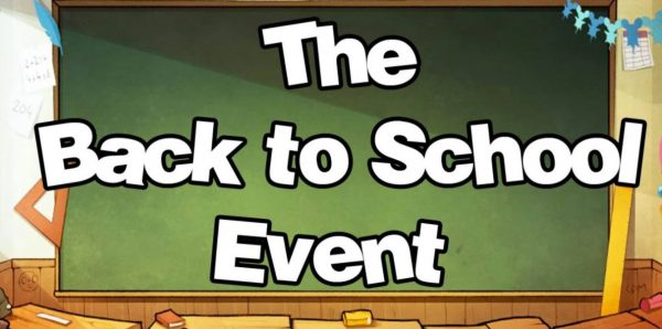 illustration of a blackboard that says the back to school event.