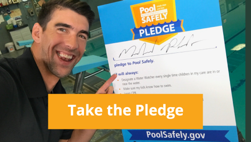 Michael Phelps with his signed pledge