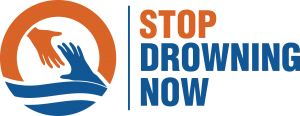 blue and orange logo for Stop Drowning Now