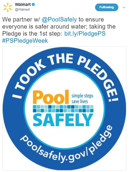 Walmarts tweet in support of Pool Safely.