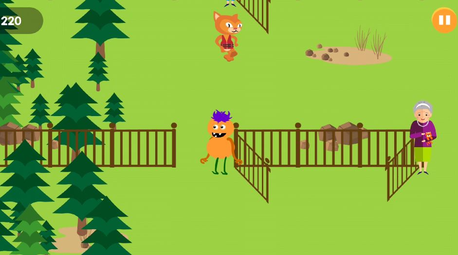 app game where character must go through appropriate gate.