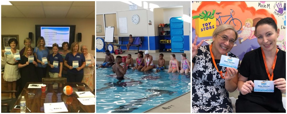 partner events from December including a large group of kids in a pool and a large group in a meeting room.
