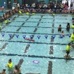 A birds eye view of a large pool with children sitting around the sides.