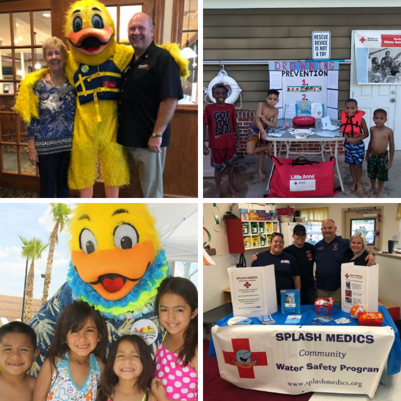 photos taken at partner events including adults and children with a duck character and at booths.