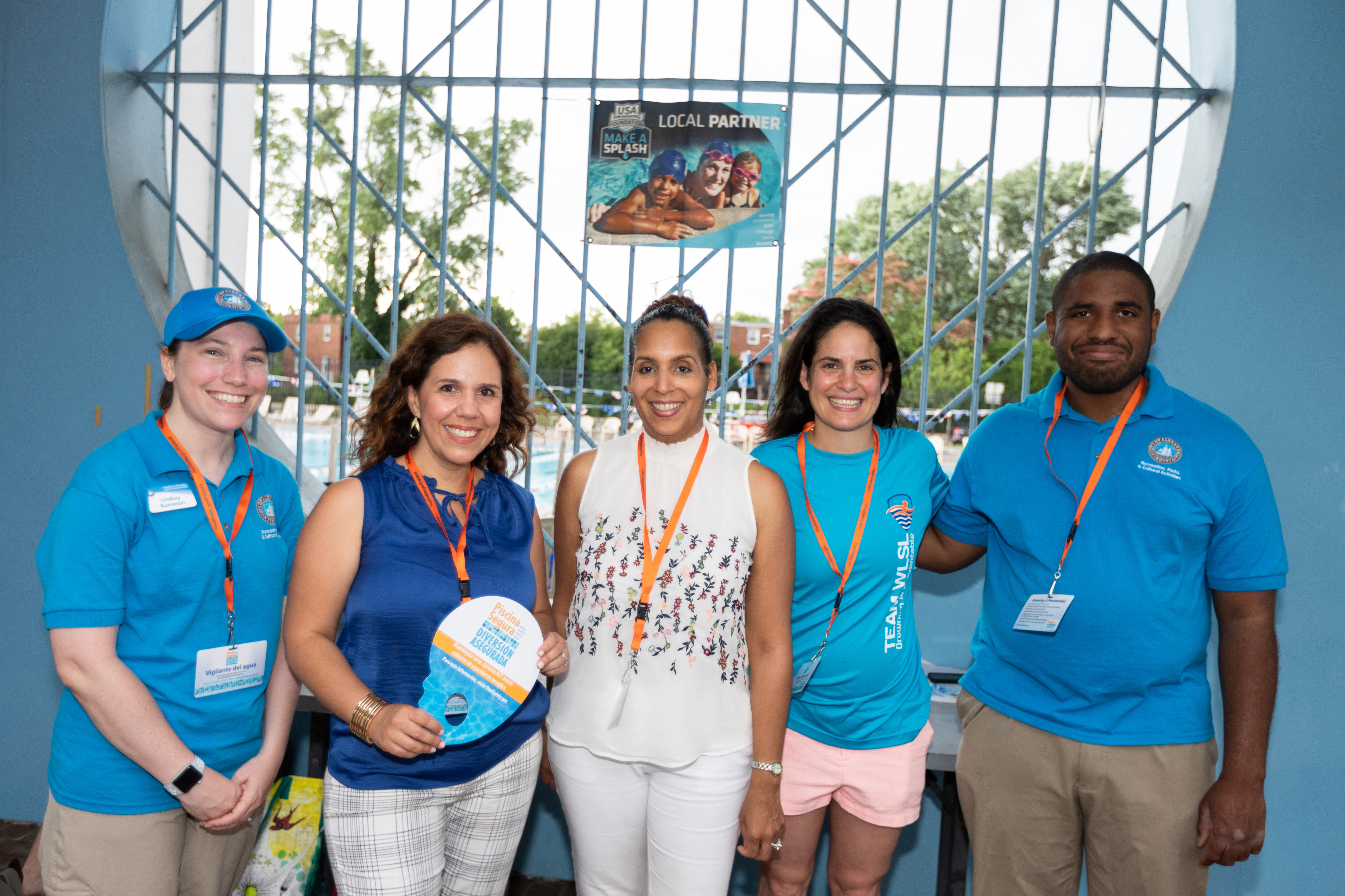 Left to right: City of Alexandria's Recreation manager Lindsay Burneson, CPSC Spanish-Spokesperson Carla Coolman, Pool Safely Campaign Leader Nikki Fleming, Olympic Swimmer Maddy Crippen and City of Alexandria Aquatics Manager Michael John.