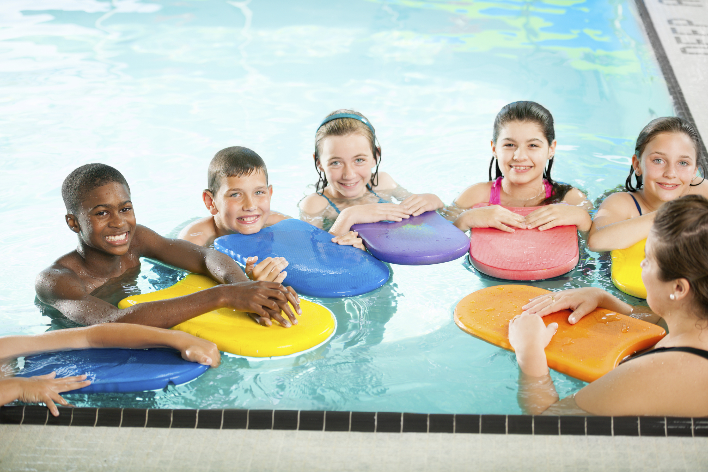 Kids at a swimming pool