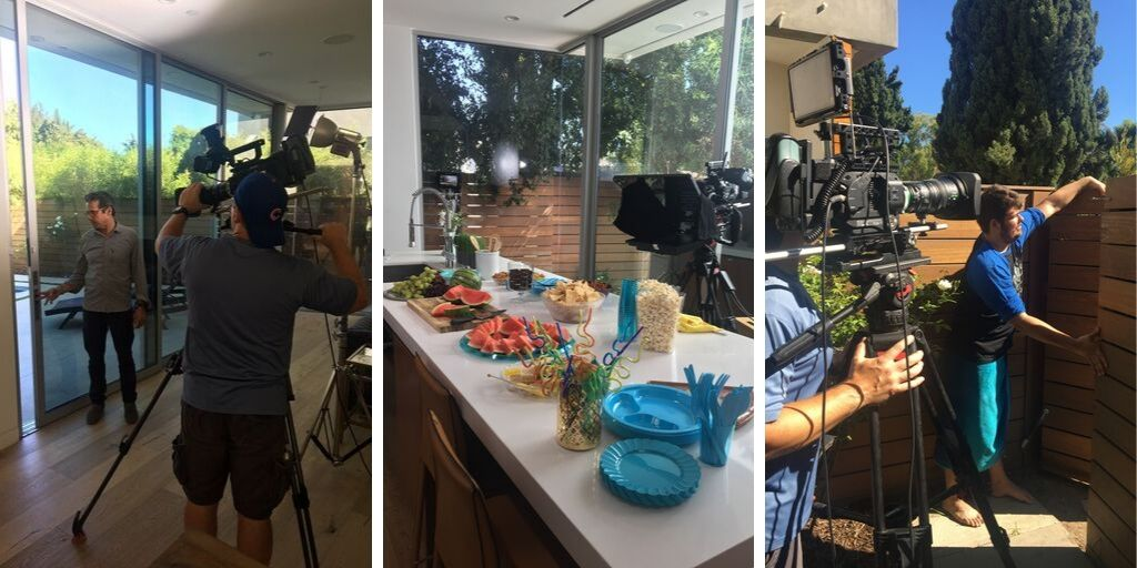 two different shots of a man holding a camera. food on a kitchen counter.