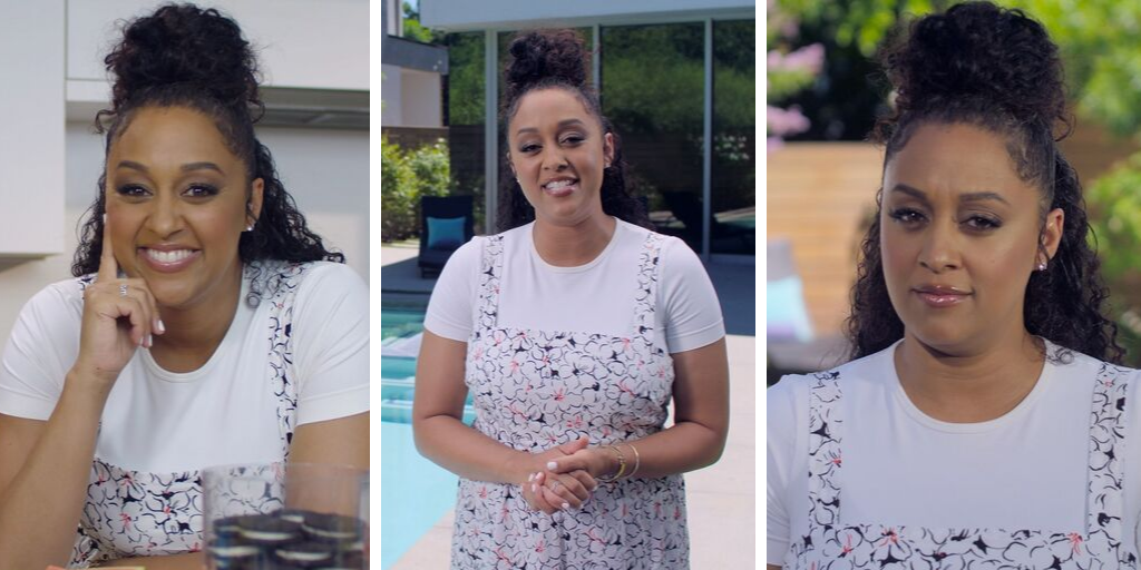 video stills of Tia Mowry in her Pool Safely video.