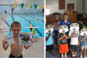 two side by side pictures of a child with an event flier and a group of children with otter masks.