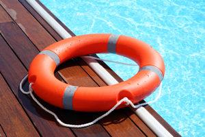 flotation device next to a pool.