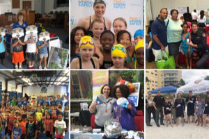 a collage of kids at pool safely events.