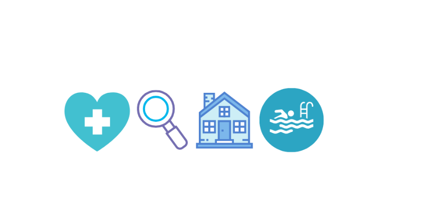 four symbols, a heart a magnifying glass, a house and a person swimming in a pool.
