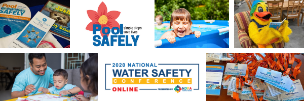 images of parents, kids, pool safely materials and a person in a duck costume.