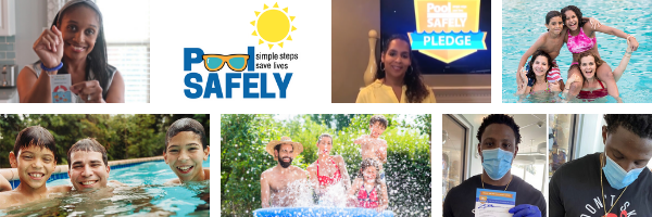 a collage of images of people including families in a pool and a man wearing a face mask.