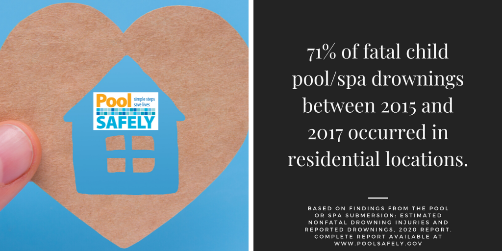 a heart with a home and the pool safely logo in the middle next to a stat about child drowning.