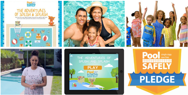 a collage of images including screenshots of the pool safely app and the water safety video with Tia.