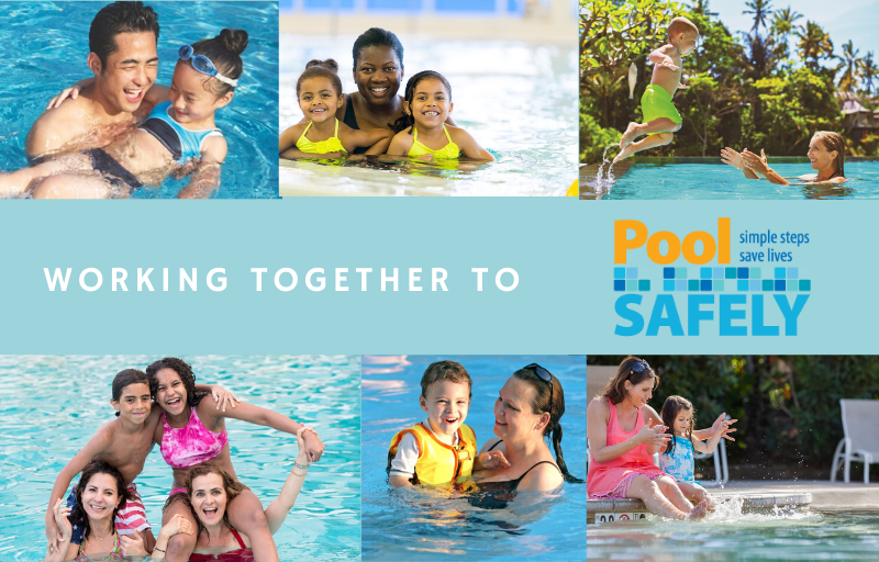 collage of images of adults and children in pools.