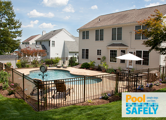 yard and pool with fence
